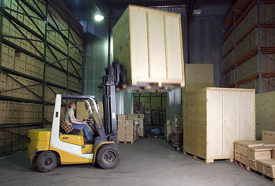 platinum removals storage pods on forklift